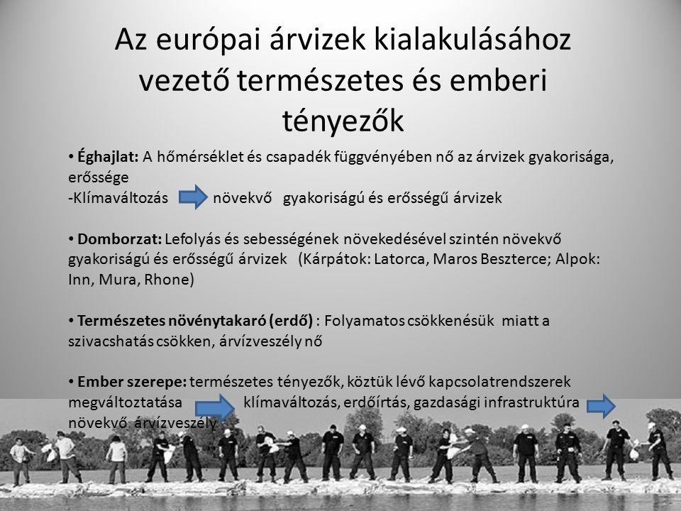 Árvizek erőssége és gyakorisága: nagy árvizek Európában Egy európai jelentőségű magyar árvíz: 1838 márciusa, Pest Legkritikusabb évek: 2002 és 2013 2002: - Duna és Elba, illetve vízgyűjtő területeik - augusztusi heves esőzések
