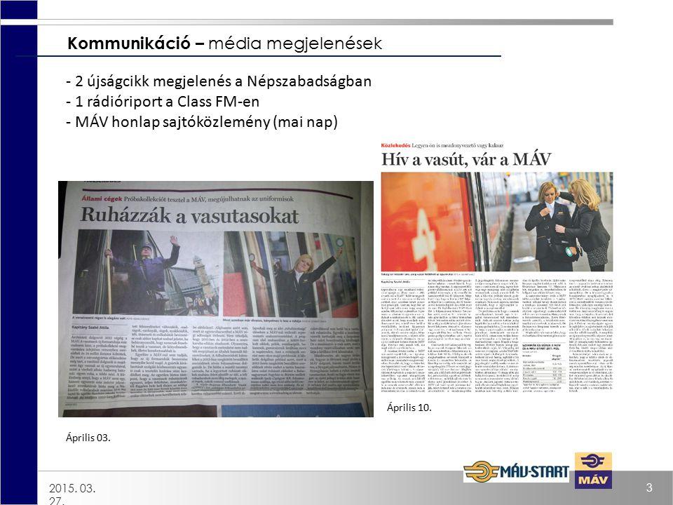 2015. 03. 27. 3 Kommunikáció – média megjelenések Április 10. Április 03. - 2 újságcikk megjelenés a Népszabadságban - 1 rádióriport a Class FM-en - M