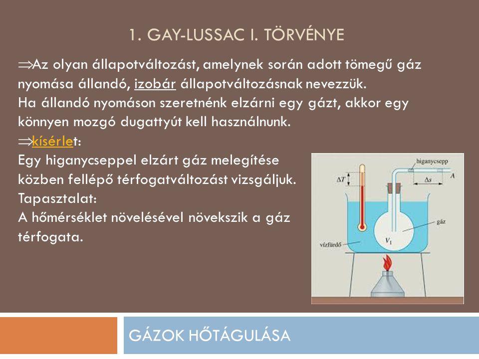 1. GAY-LUSSAC I. TÖRVÉNYE GÁZOK HŐTÁGULÁSA  Az olyan állapotváltozást, amelynek során adott tömegű gáz nyomása állandó, izobár állapotváltozásnak nev