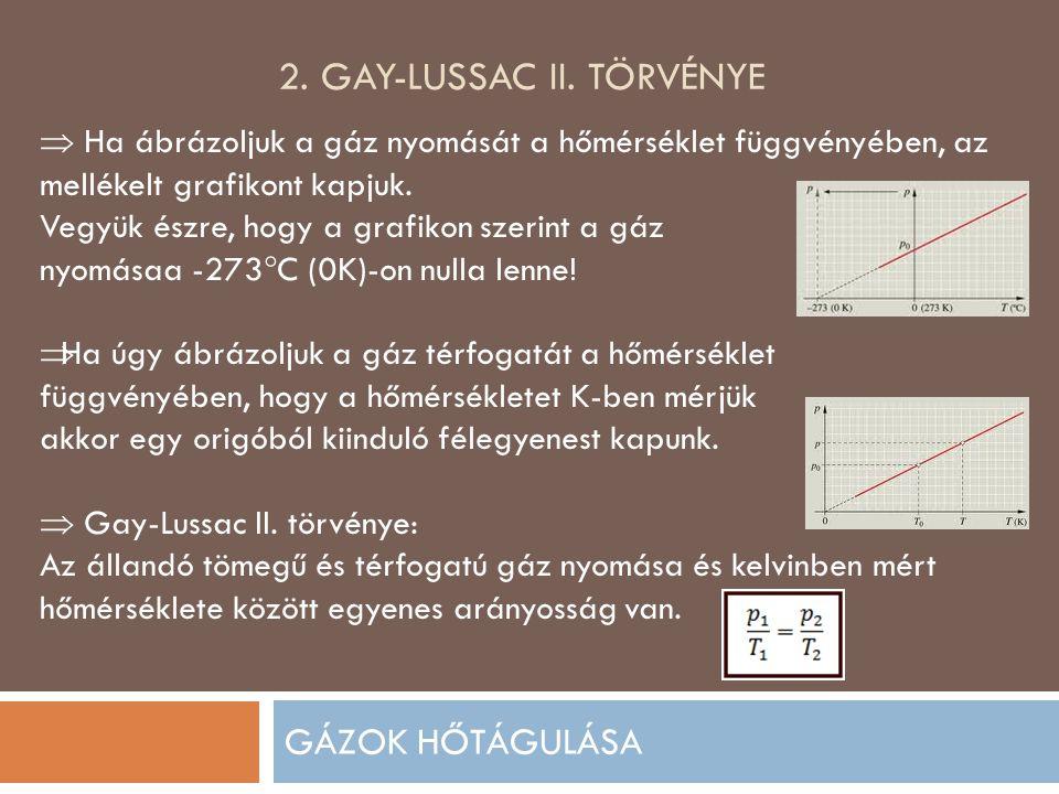 2. GAY-LUSSAC II. TÖRVÉNYE GÁZOK HŐTÁGULÁSA  Ha ábrázoljuk a gáz nyomását a hőmérséklet függvényében, az mellékelt grafikont kapjuk. Vegyük észre, ho