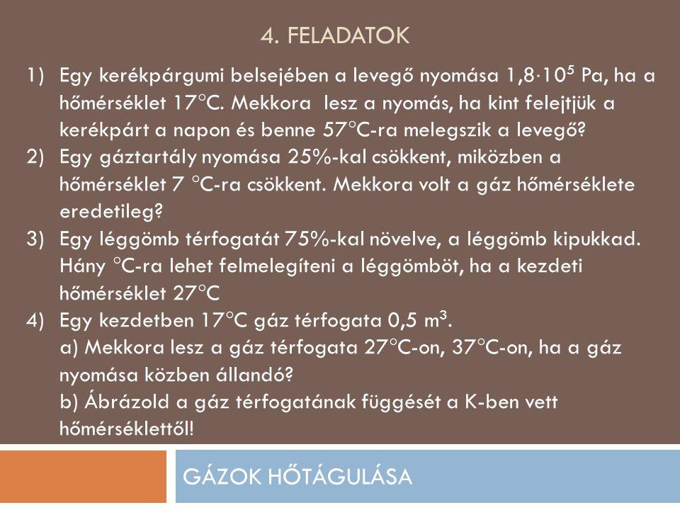 4. FELADATOK GÁZOK HŐTÁGULÁSA 1)Egy kerékpárgumi belsejében a levegő nyomása 1,8  10 5 Pa, ha a hőmérséklet 17  C. Mekkora lesz a nyomás, ha kint fe