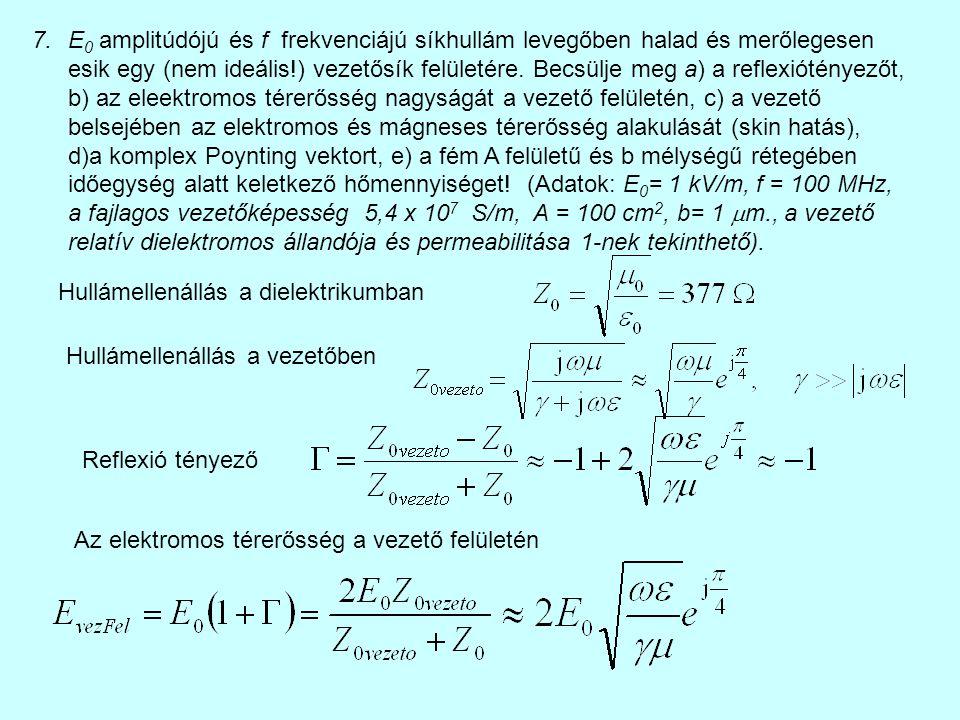 7.E 0 amplitúdójú és f frekvenciájú síkhullám levegőben halad és merőlegesen esik egy (nem ideális!) vezetősík felületére. Becsülje meg a) a reflexiót