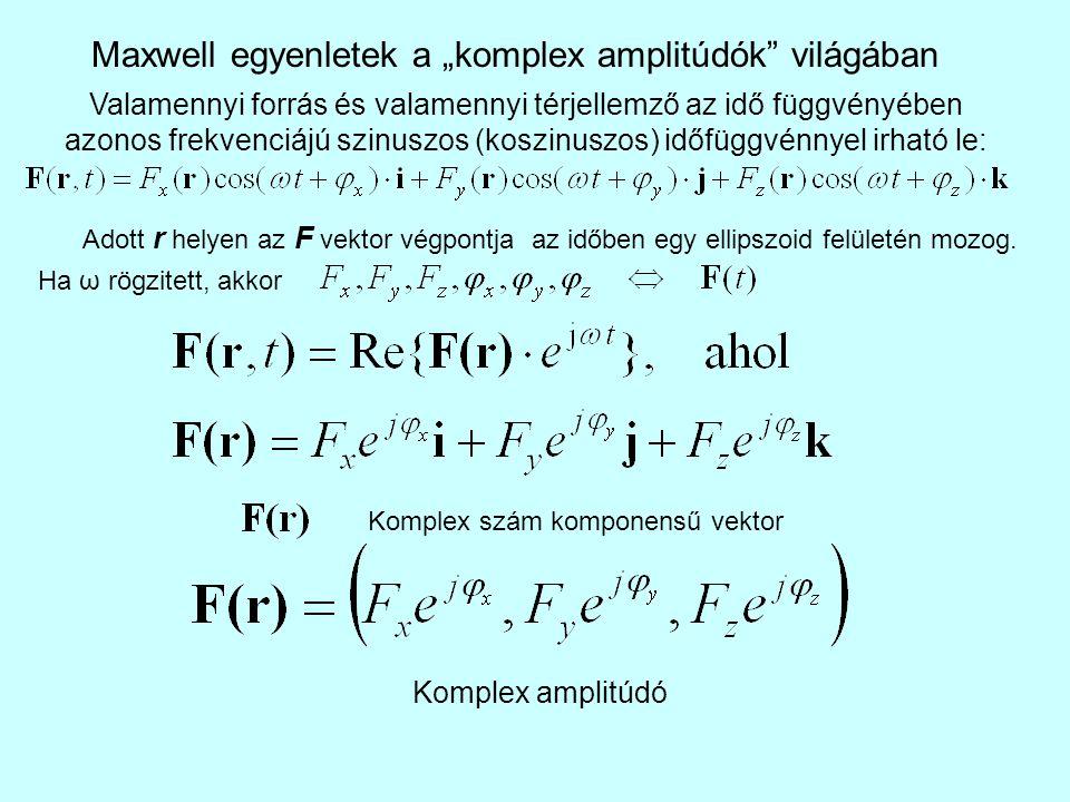 """Maxwell egyenletek a """"komplex amplitúdók világában Valamennyi forrás és valamennyi térjellemző az idő függvényében azonos frekvenciájú szinuszos (koszinuszos) időfüggvénnyel irható le: Adott r helyen az F vektor végpontja az időben egy ellipszoid felületén mozog."""