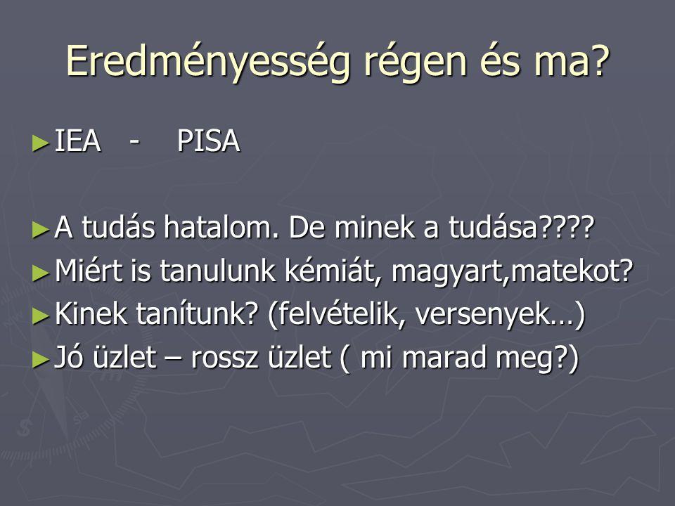 Eredményesség régen és ma? ► IEA - PISA ► A tudás hatalom. De minek a tudása???? ► Miért is tanulunk kémiát, magyart,matekot? ► Kinek tanítunk? (felvé