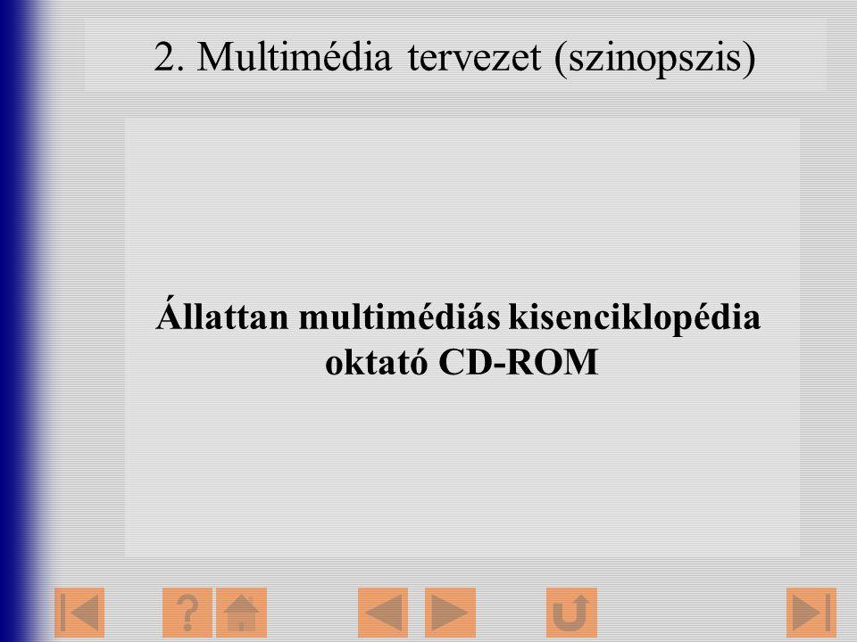Állattan multimédiás kisenciklopédia oktató CD-ROM 2. Multimédia tervezet (szinopszis)