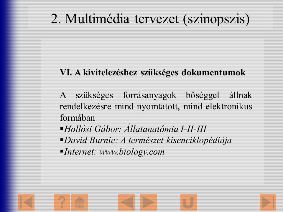 2. Multimédia tervezet (szinopszis) VI. A kivitelezéshez szükséges dokumentumok A szükséges forrásanyagok bőséggel állnak rendelkezésre mind nyomtatot