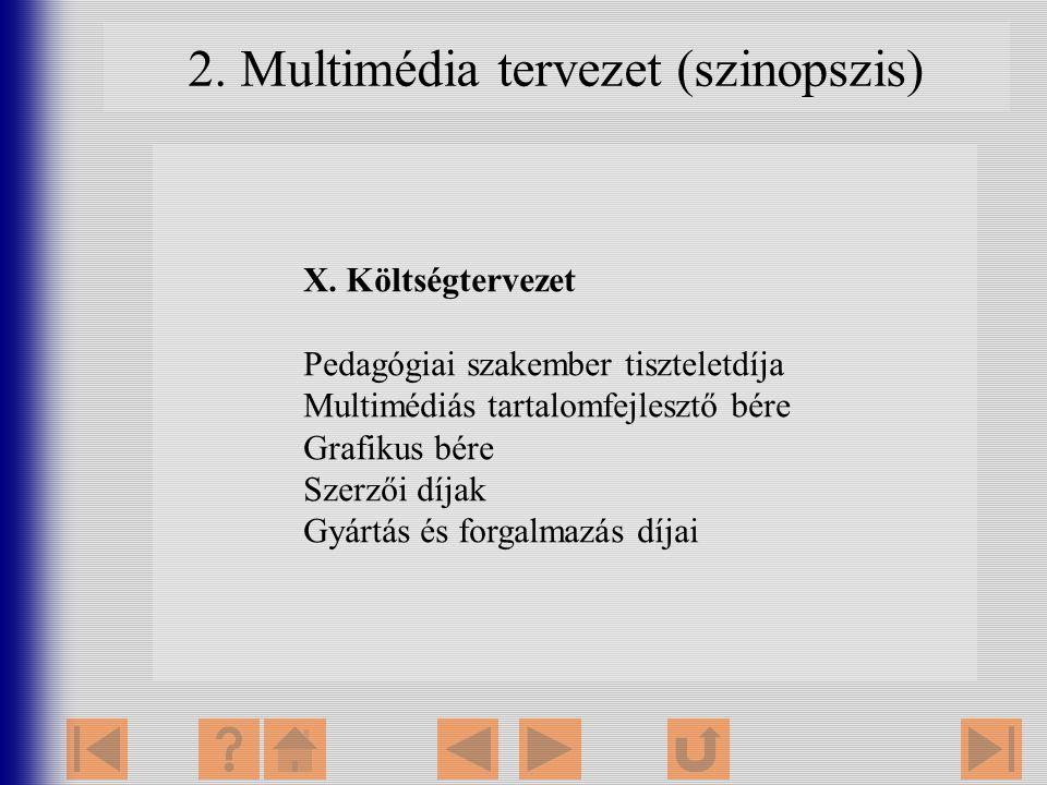 2. Multimédia tervezet (szinopszis) X. Költségtervezet Pedagógiai szakember tiszteletdíja Multimédiás tartalomfejlesztő bére Grafikus bére Szerzői díj