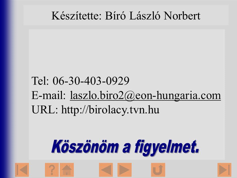 Tel: 06-30-403-0929 E-mail: laszlo.biro2@eon-hungaria.comlaszlo.biro2@eon-hungaria.com URL: http://birolacy.tvn.hu Készítette: Bíró László Norbert