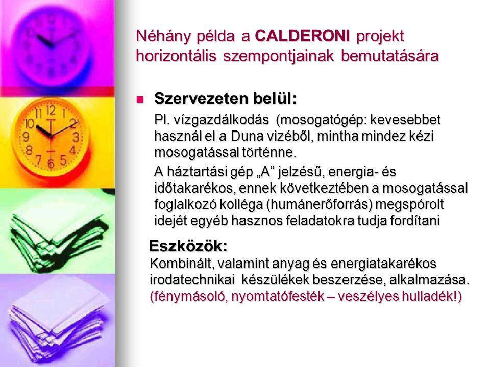 Néhány példa a CALDERONI projekt horizontális szempontjainak bemutatására Szervezeten belül: Szervezeten belül: Pl. vízgazdálkodás (mosogatógép: keves