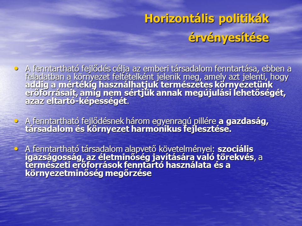 Horizontális politikák érvényesítése A fenntartható fejlődés célja az emberi társadalom fenntartása, ebben a feladatban a környezet feltételként jelen