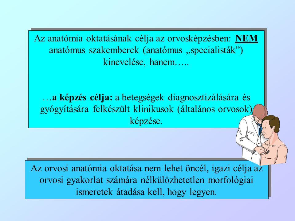 """Az anatómia oktatásának célja az orvosképzésben: NEM anatómus szakemberek (anatómus """"specialisták"""") kinevelése, hanem….. …a képzés célja: a betegségek"""