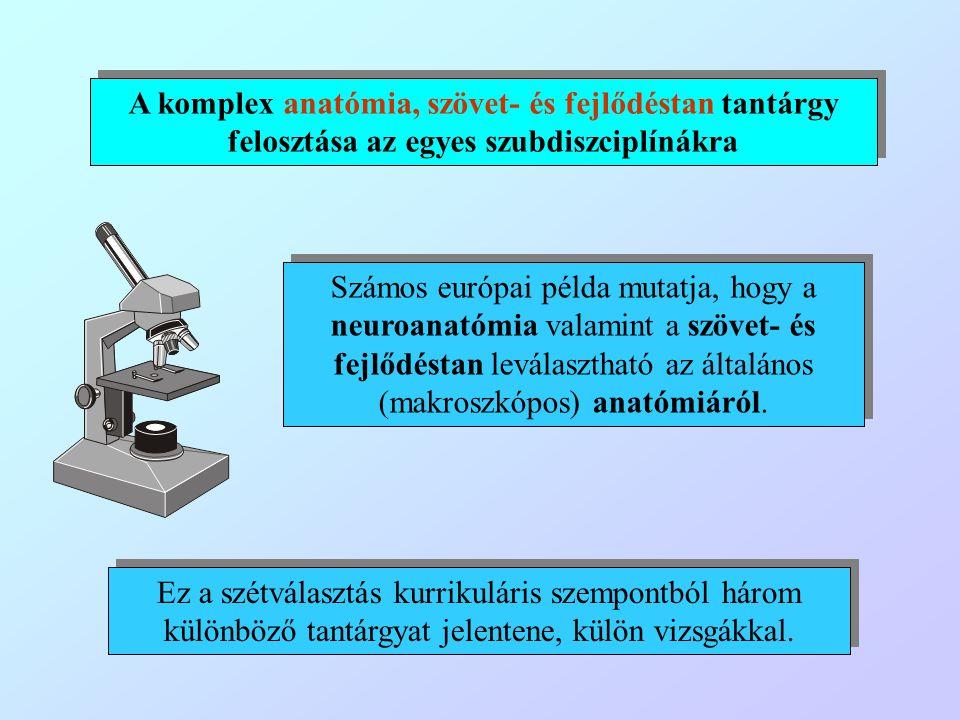 A komplex anatómia, szövet- és fejlődéstan tantárgy felosztása az egyes szubdiszciplínákra Számos európai példa mutatja, hogy a neuroanatómia valamint