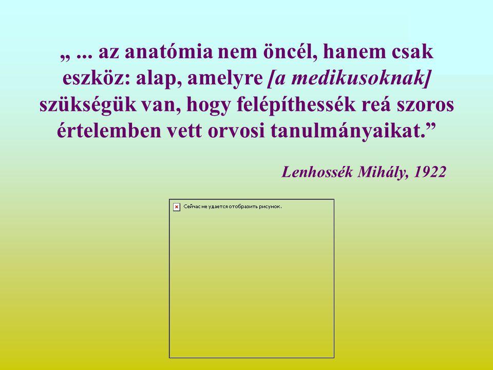 """Lenhossék Mihály, 1922 """"... az anatómia nem öncél, hanem csak eszköz: alap, amelyre [a medikusoknak] szükségük van, hogy felépíthessék reá szoros érte"""