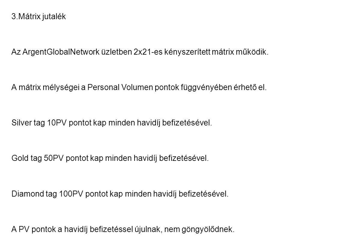 3.Mátrix jutalék Az ArgentGlobalNetwork üzletben 2x21-es kényszerített mátrix működik.