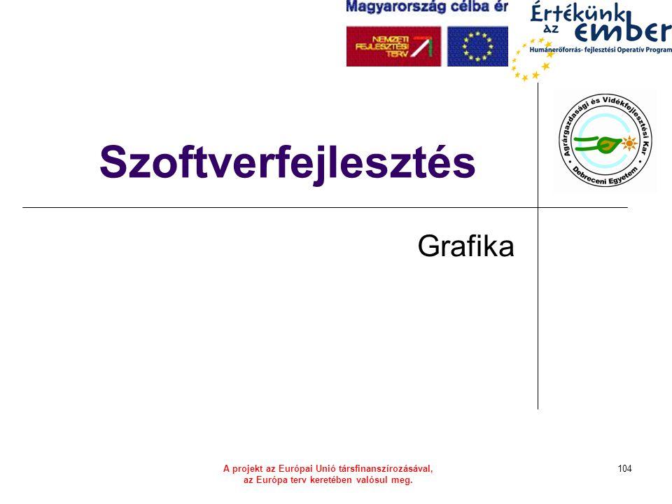 A projekt az Európai Unió társfinanszírozásával, az Európa terv keretében valósul meg. 104 Szoftverfejlesztés Grafika