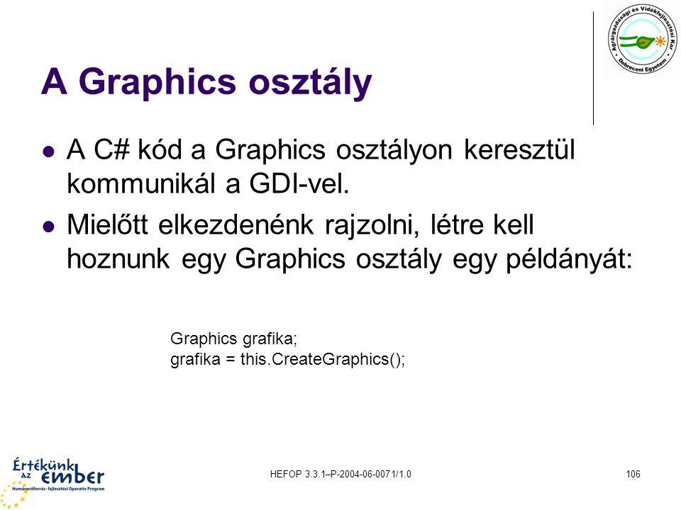 HEFOP 3.3.1–P-2004-06-0071/1.0106 A Graphics osztály A C# kód a Graphics osztályon keresztül kommunikál a GDI-vel. Mielőtt elkezdenénk rajzolni, létre