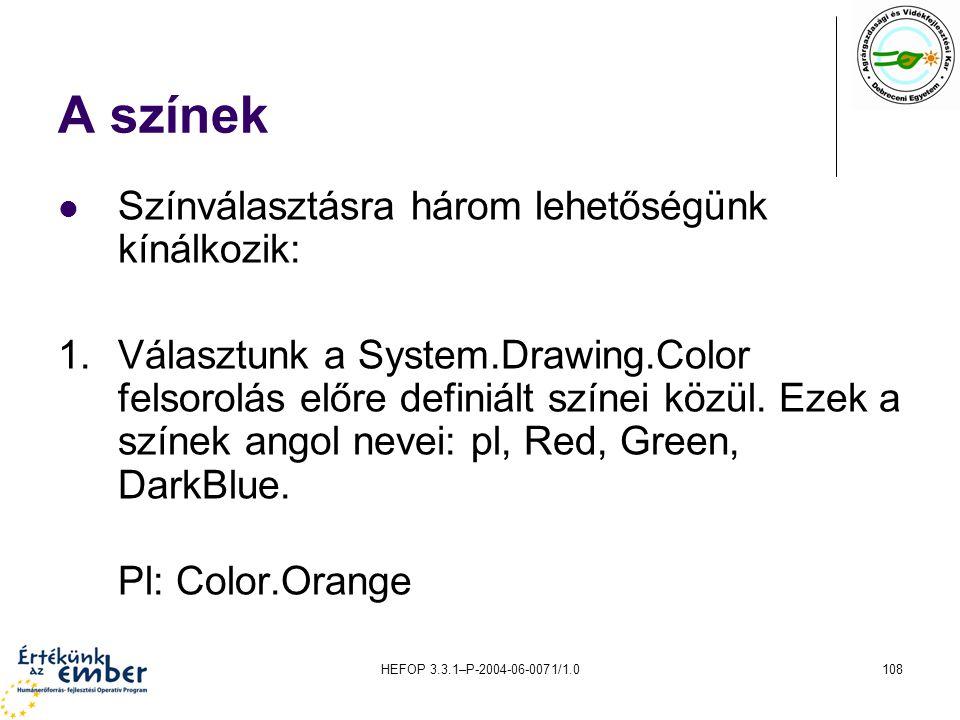 HEFOP 3.3.1–P-2004-06-0071/1.0108 A színek Színválasztásra három lehetőségünk kínálkozik: 1.Választunk a System.Drawing.Color felsorolás előre definiá