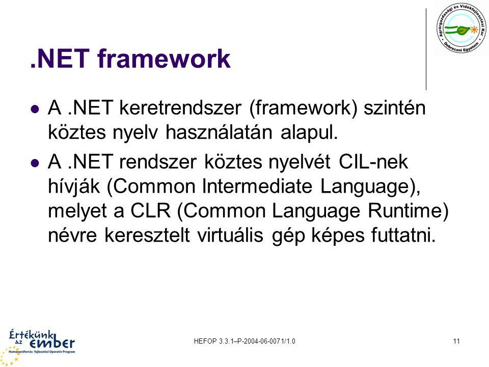 HEFOP 3.3.1–P-2004-06-0071/1.011.NET framework A.NET keretrendszer (framework) szintén köztes nyelv használatán alapul. A.NET rendszer köztes nyelvét