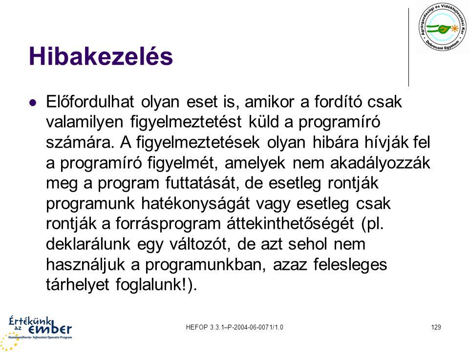 HEFOP 3.3.1–P-2004-06-0071/1.0129 Hibakezelés Előfordulhat olyan eset is, amikor a fordító csak valamilyen figyelmeztetést küld a programíró számára.