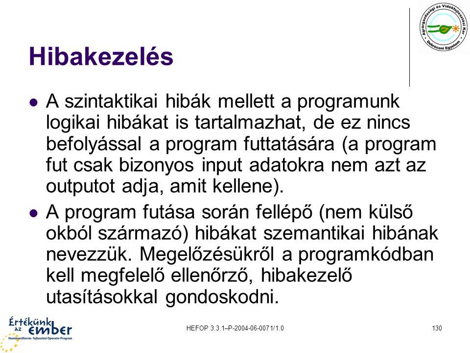 HEFOP 3.3.1–P-2004-06-0071/1.0130 Hibakezelés A szintaktikai hibák mellett a programunk logikai hibákat is tartalmazhat, de ez nincs befolyással a pro