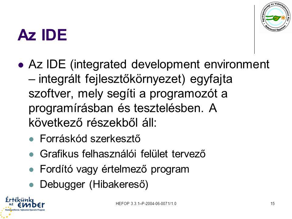 HEFOP 3.3.1–P-2004-06-0071/1.015 Az IDE Az IDE (integrated development environment – integrált fejlesztőkörnyezet) egyfajta szoftver, mely segíti a pr