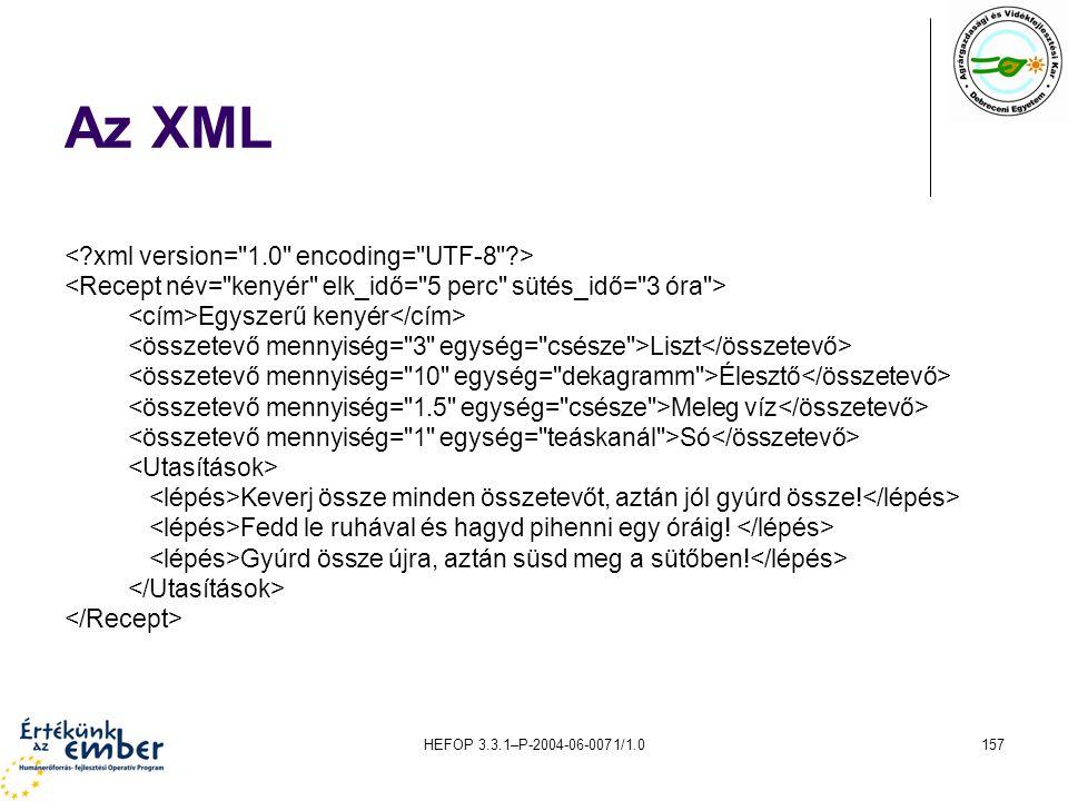HEFOP 3.3.1–P-2004-06-0071/1.0157 Az XML Egyszerű kenyér Liszt Élesztő Meleg víz Só Keverj össze minden összetevőt, aztán jól gyúrd össze! Fedd le ruh