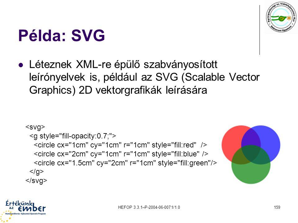 HEFOP 3.3.1–P-2004-06-0071/1.0159 Példa: SVG Léteznek XML-re épülő szabványosított leírónyelvek is, például az SVG (Scalable Vector Graphics) 2D vekto