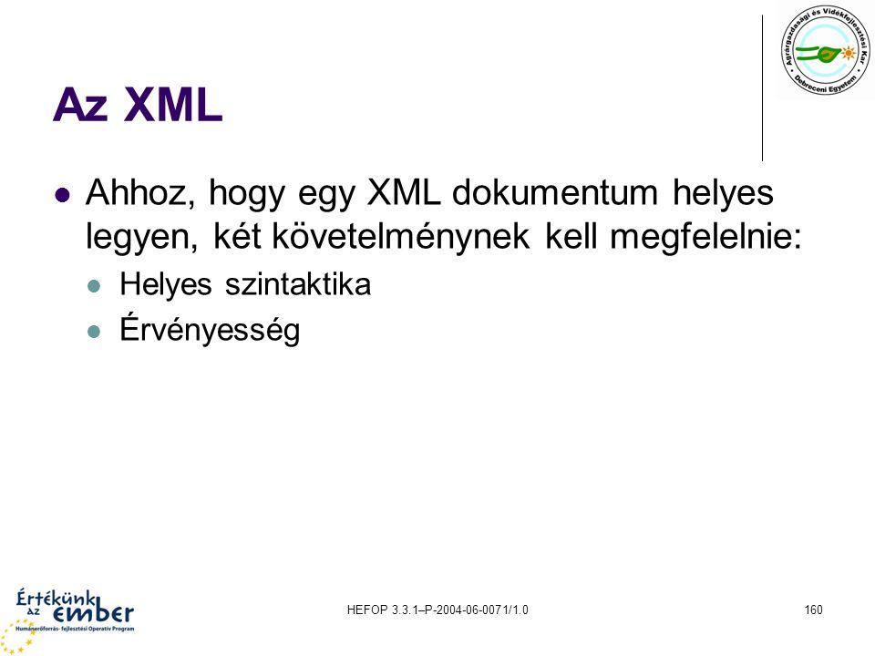 HEFOP 3.3.1–P-2004-06-0071/1.0160 Az XML Ahhoz, hogy egy XML dokumentum helyes legyen, két követelménynek kell megfelelnie: Helyes szintaktika Érvénye