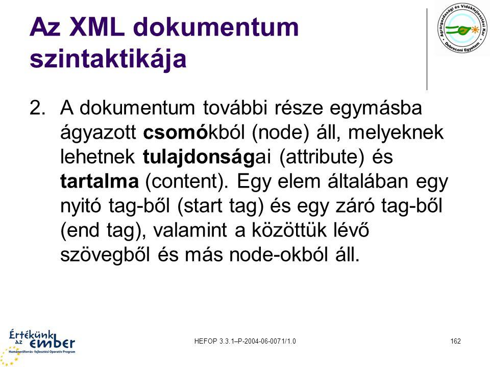 HEFOP 3.3.1–P-2004-06-0071/1.0162 Az XML dokumentum szintaktikája 2.A dokumentum további része egymásba ágyazott csomókból (node) áll, melyeknek lehet