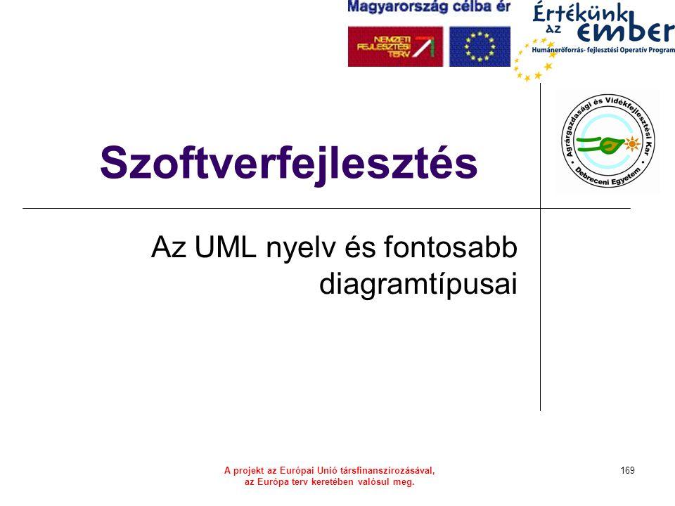 A projekt az Európai Unió társfinanszírozásával, az Európa terv keretében valósul meg. 169 Szoftverfejlesztés Az UML nyelv és fontosabb diagramtípusai