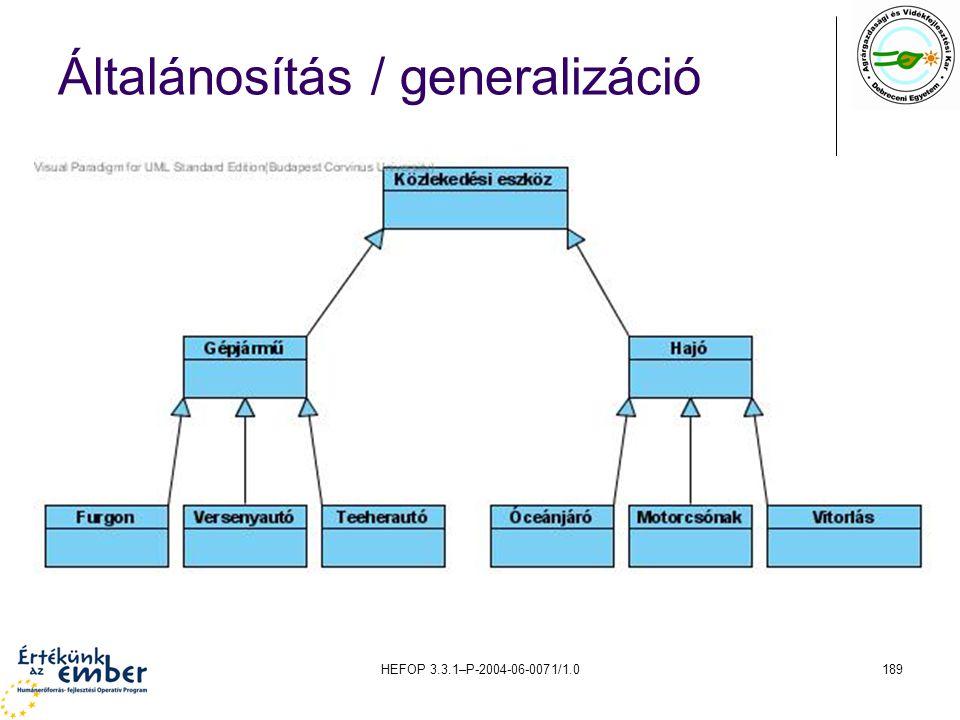 HEFOP 3.3.1–P-2004-06-0071/1.0189 Általánosítás / generalizáció
