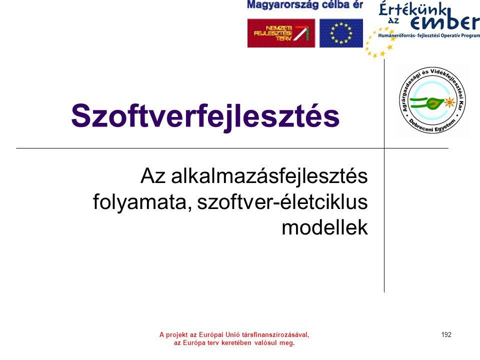 A projekt az Európai Unió társfinanszírozásával, az Európa terv keretében valósul meg. 192 Szoftverfejlesztés Az alkalmazásfejlesztés folyamata, szoft
