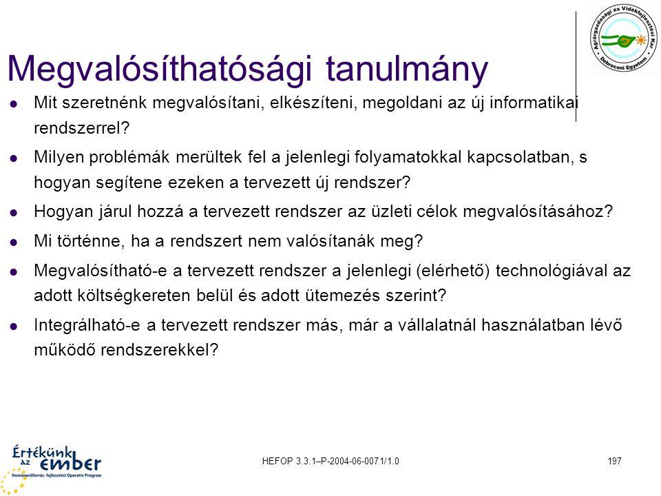 HEFOP 3.3.1–P-2004-06-0071/1.0197 Megvalósíthatósági tanulmány Mit szeretnénk megvalósítani, elkészíteni, megoldani az új informatikai rendszerrel? Mi