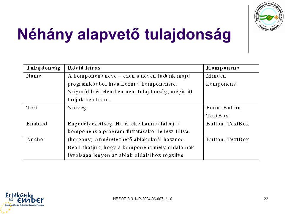 HEFOP 3.3.1–P-2004-06-0071/1.022 Néhány alapvető tulajdonság