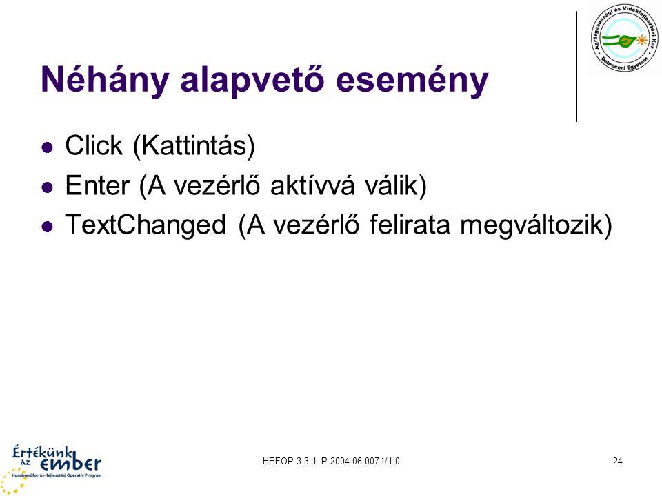 HEFOP 3.3.1–P-2004-06-0071/1.024 Néhány alapvető esemény Click (Kattintás) Enter (A vezérlő aktívvá válik) TextChanged (A vezérlő felirata megváltozik
