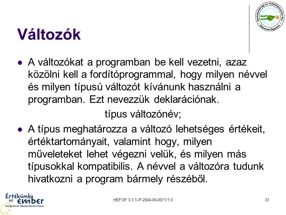 HEFOP 3.3.1–P-2004-06-0071/1.033 Változók A változókat a programban be kell vezetni, azaz közölni kell a fordítóprogrammal, hogy milyen névvel és mily