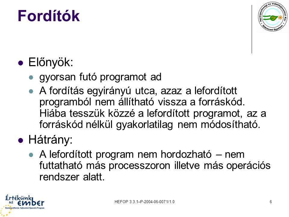 HEFOP 3.3.1–P-2004-06-0071/1.06 Fordítók Előnyök: gyorsan futó programot ad A fordítás egyirányú utca, azaz a lefordított programból nem állítható vis