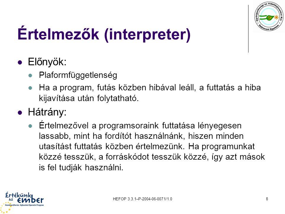 HEFOP 3.3.1–P-2004-06-0071/1.08 Értelmezők (interpreter) Előnyök: Plaformfüggetlenség Ha a program, futás közben hibával leáll, a futtatás a hiba kija