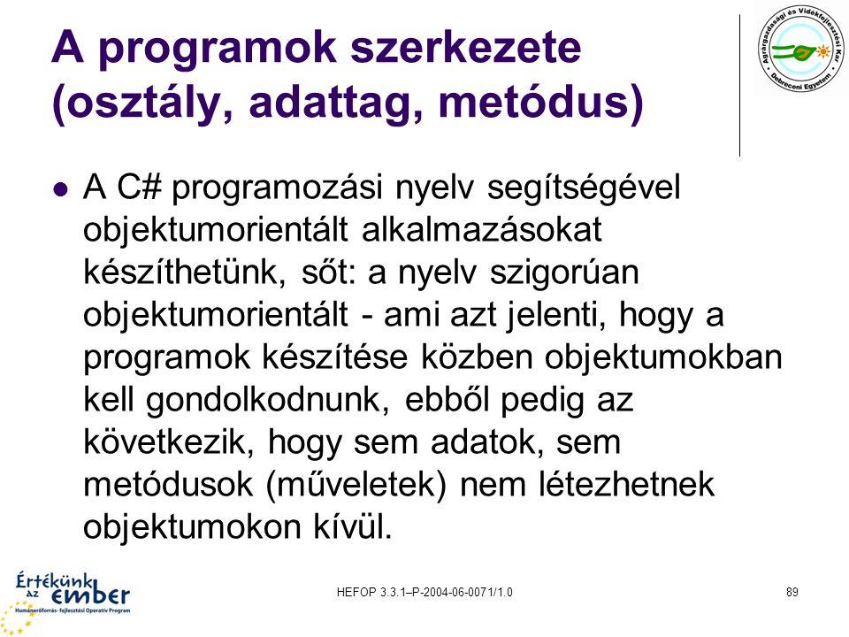 HEFOP 3.3.1–P-2004-06-0071/1.089 A programok szerkezete (osztály, adattag, metódus) A C# programozási nyelv segítségével objektumorientált alkalmazáso