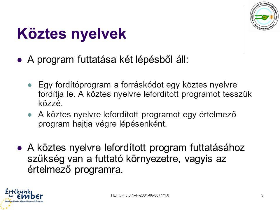HEFOP 3.3.1–P-2004-06-0071/1.09 Köztes nyelvek A program futtatása két lépésből áll: Egy fordítóprogram a forráskódot egy köztes nyelvre fordítja le.