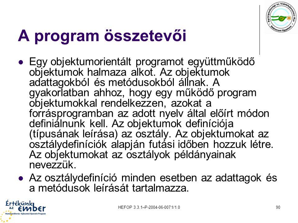 HEFOP 3.3.1–P-2004-06-0071/1.090 A program összetevői Egy objektumorientált programot együttműködő objektumok halmaza alkot. Az objektumok adattagokbó