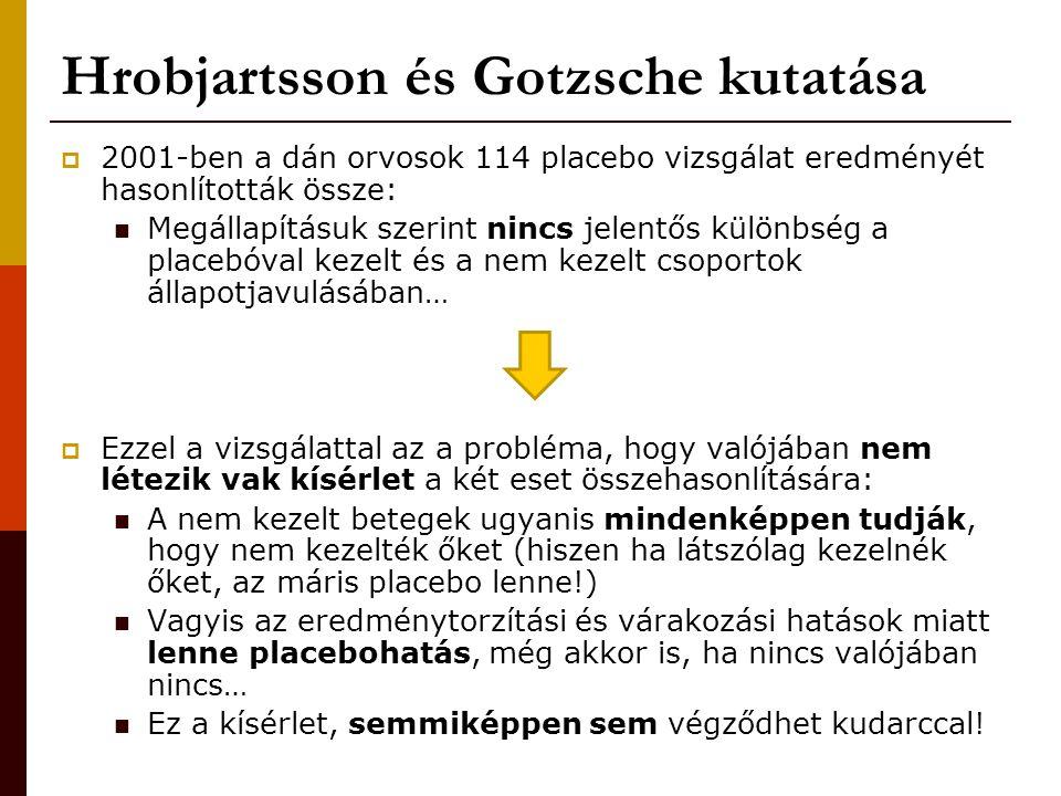 Hrobjartsson és Gotzsche kutatása  2001-ben a dán orvosok 114 placebo vizsgálat eredményét hasonlították össze: Megállapításuk szerint nincs jelentős különbség a placebóval kezelt és a nem kezelt csoportok állapotjavulásában…  Ezzel a vizsgálattal az a probléma, hogy valójában nem létezik vak kísérlet a két eset összehasonlítására: A nem kezelt betegek ugyanis mindenképpen tudják, hogy nem kezelték őket (hiszen ha látszólag kezelnék őket, az máris placebo lenne!) Vagyis az eredménytorzítási és várakozási hatások miatt lenne placebohatás, még akkor is, ha nincs valójában nincs… Ez a kísérlet, semmiképpen sem végződhet kudarccal!