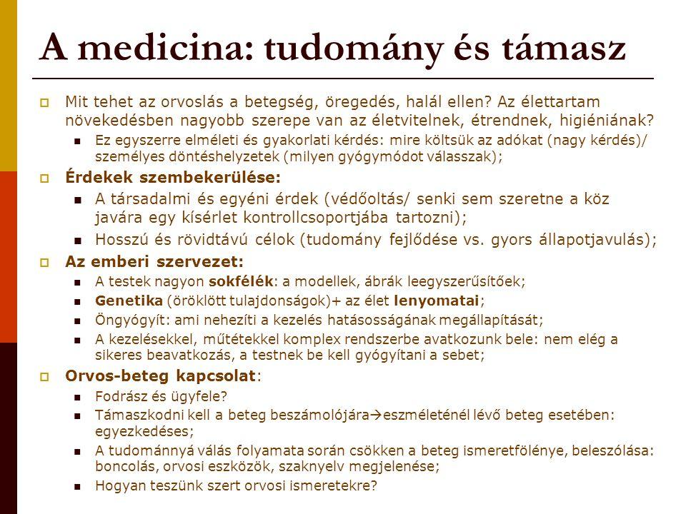 A medicina: tudomány és támasz  Mit tehet az orvoslás a betegség, öregedés, halál ellen.