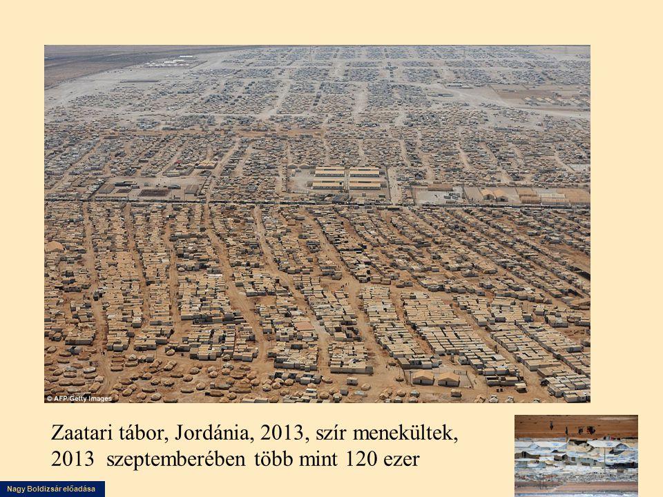 Nagy Boldizsár előadása Zaatari tábor, Jordánia, 2013, szír menekültek, 2013 szeptemberében több mint 120 ezer