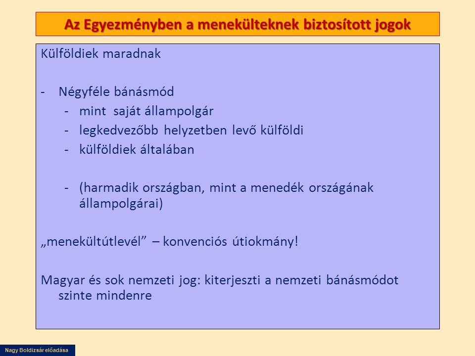 Nagy Boldizsár előadása Az Egyezményben a menekülteknek biztosított jogok Külföldiek maradnak -Négyféle bánásmód -mint saját állampolgár -legkedvezőbb