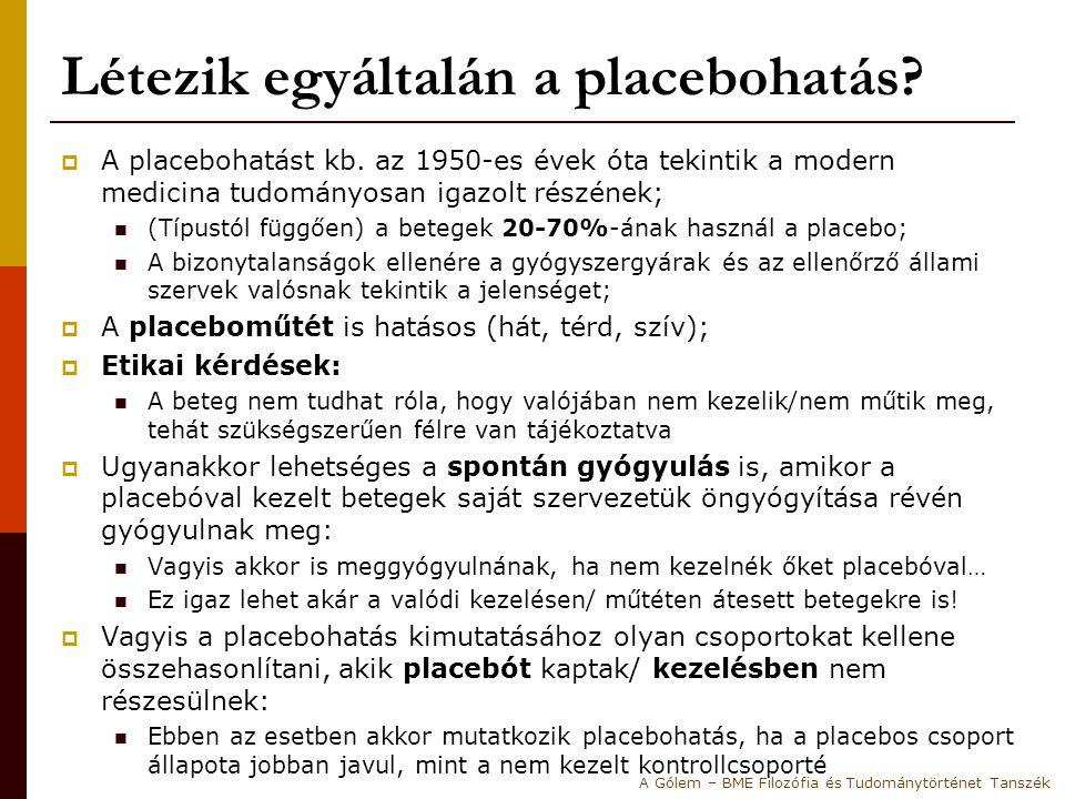 Létezik egyáltalán a placebohatás?  A placebohatást kb. az 1950-es évek óta tekintik a modern medicina tudományosan igazolt részének; (Típustól függő