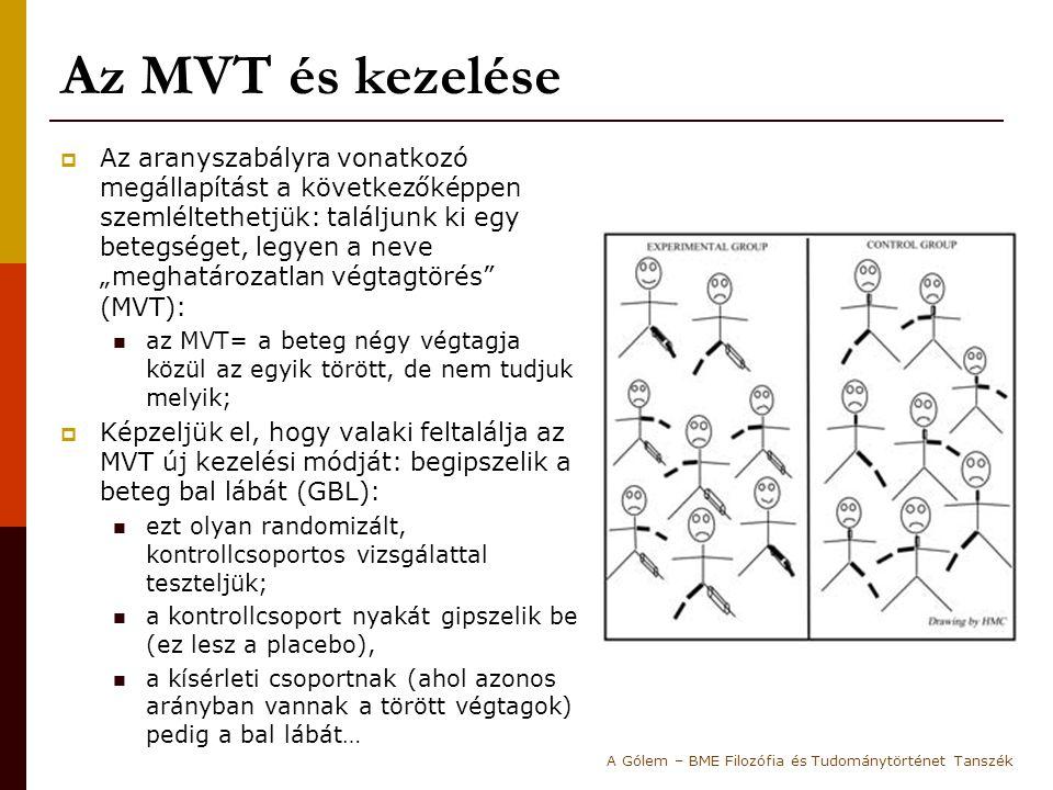 """Az MVT és kezelése  Az aranyszabályra vonatkozó megállapítást a következőképpen szemléltethetjük: találjunk ki egy betegséget, legyen a neve """"meghatározatlan végtagtörés (MVT): az MVT= a beteg négy végtagja közül az egyik törött, de nem tudjuk melyik;  Képzeljük el, hogy valaki feltalálja az MVT új kezelési módját: begipszelik a beteg bal lábát (GBL): ezt olyan randomizált, kontrollcsoportos vizsgálattal teszteljük; a kontrollcsoport nyakát gipszelik be (ez lesz a placebo), a kísérleti csoportnak (ahol azonos arányban vannak a törött végtagok) pedig a bal lábát… A Gólem – BME Filozófia és Tudománytörténet Tanszék"""