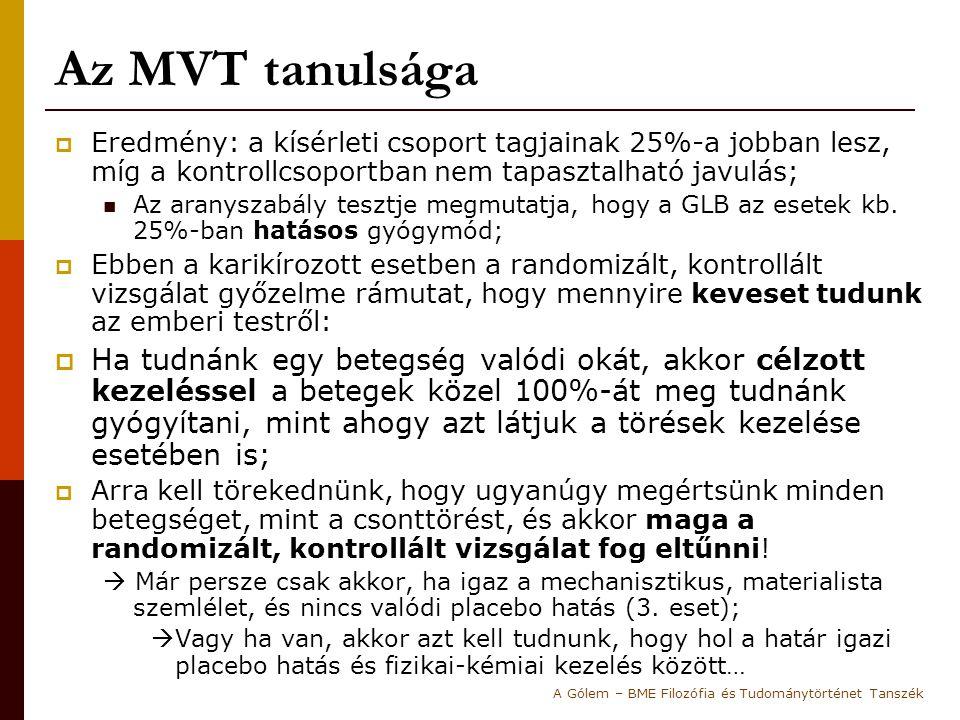 Az MVT tanulsága  Eredmény: a kísérleti csoport tagjainak 25%-a jobban lesz, míg a kontrollcsoportban nem tapasztalható javulás; Az aranyszabály tesz