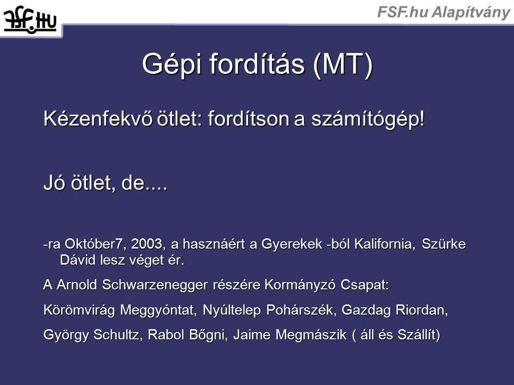 FSF.hu Alapítvány Gépi fordítás (MT) Kézenfekvő ötlet: fordítson a számítógép! Jó ötlet, de.... -ra Október7, 2003, a hasznáért a Gyerekek -ból Kalifo
