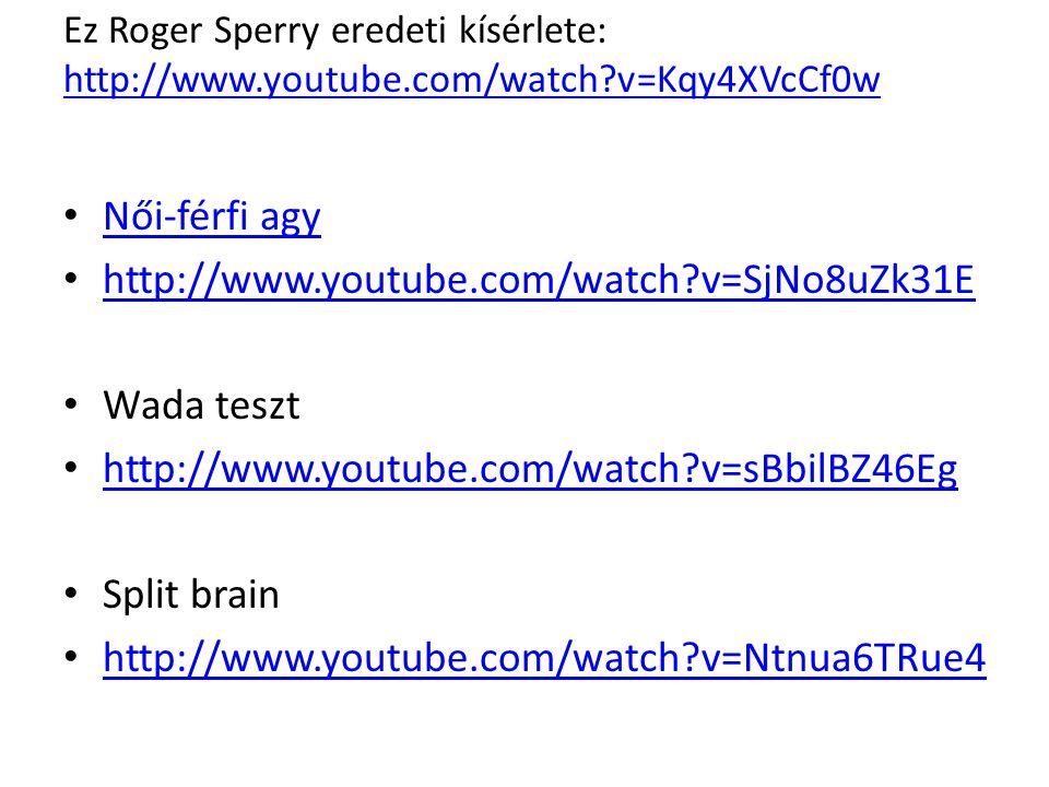 Ez Roger Sperry eredeti kísérlete: http://www.youtube.com/watch?v=Kqy4XVcCf0w http://www.youtube.com/watch?v=Kqy4XVcCf0w Női-férfi agy http://www.yout